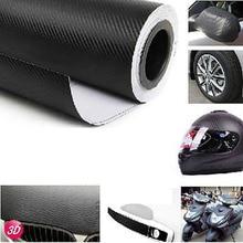 Revestimiento para coche pegatina de película de rollo para decoración Interior de coche, pegatina de vinilo de fibra de carbono negra 3D de 127x30cm
