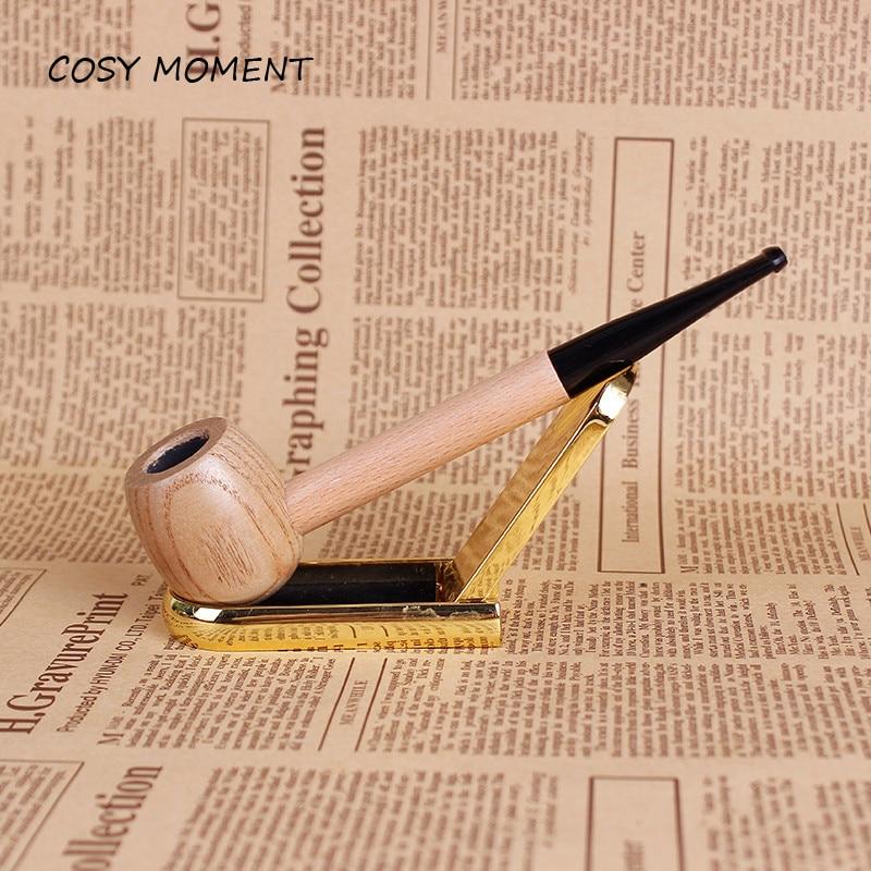Logico Accogliente Momento Di Legno Rotondo Di Colore Tubo Di Fumo Mini Fatti A Mano In Legno Dritto Filtro Di Tabacco Tubo Di Fumo Strumento Di Sm075