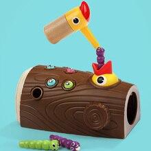 Деревянный магнит птица ловля жука игра дошкольные игрушки детские подарки AN88