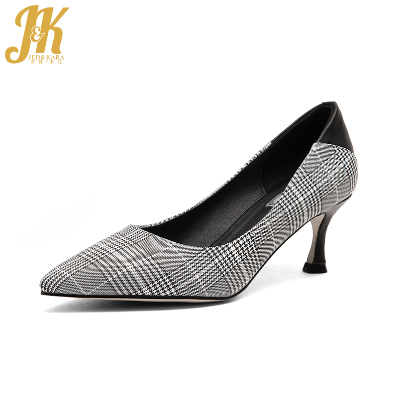 JK New Arrival Sexy High Heels Women Pumps Pointed Toe Thin Heels Shallow Footwear Plaid Cloth Spring Fashion Ladies Shoes baoyafang bling womens wedding shoes high heels pumps women fashion shoes pointed toe ladies shallow sequined cloth female shoes