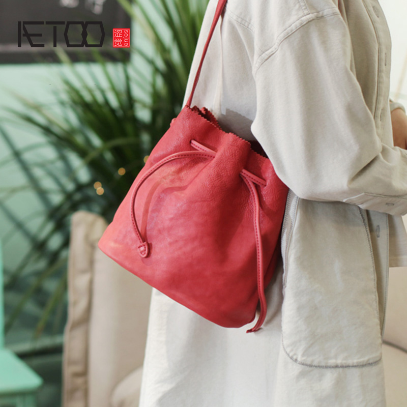 AETOO Teen heart Summer small bag hundred summer small fresh red bucket bag female retro leather