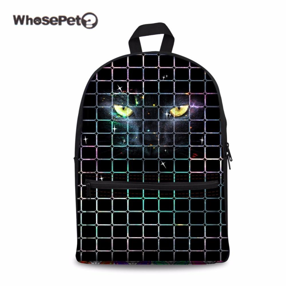 WHOSEPET Black Puma Schoolbag for Teenager Girls Black Fashion Bookbag Satchel Bag Women Men Travel Large Cool Animals Mochila