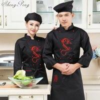 Chef uniform jacket chef coat costume chinese restaurant uniforms long sleeve dragon restaurant uniform CC355