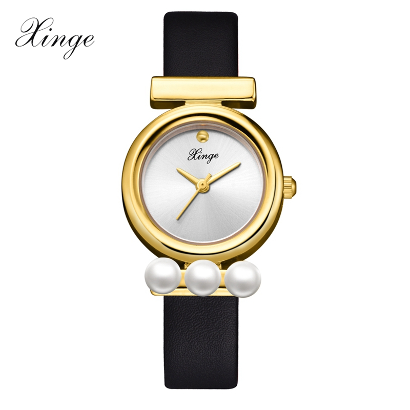 Xinge Women Watches Luxury Top Brand Fashion Casual Gold Dial Ladies Wrist Watch Pearl Business Dress Leather Clock Gift XG1099 xinge brand fashion women quartz wrsit watches clock leather strap business watch ladies silver luxury female sport womens watch