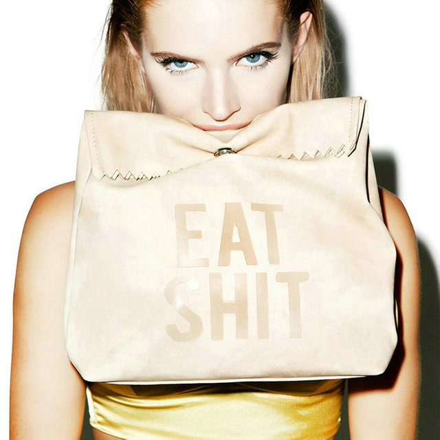 Funny Eat Lunch Bag Women S Ulzzang Messenger Bags Gift Letter Picnic Fold Over Clutch