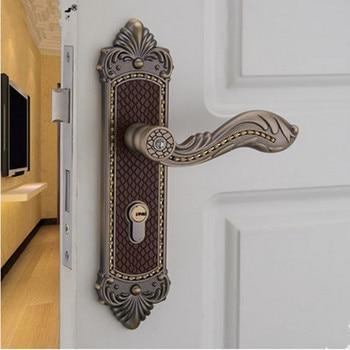 Euro style  luxury  crystal archaize bed room handle lock antique brass diamond wood door lock  2 latchs indoor handle  lock