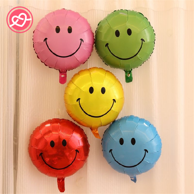 Hot Sale 5Pcs Lot 18inch Smile Face Emoji Balloons Aluminum Foil Happy Birthday Party Decoration Candy Toys Gifts