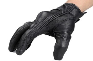 Image 4 - Motorcycle Gloves Outdoor Sports Full Finger Motorcycle Riding Protective Armor Black Short Leather Gloves gym For Men For Women