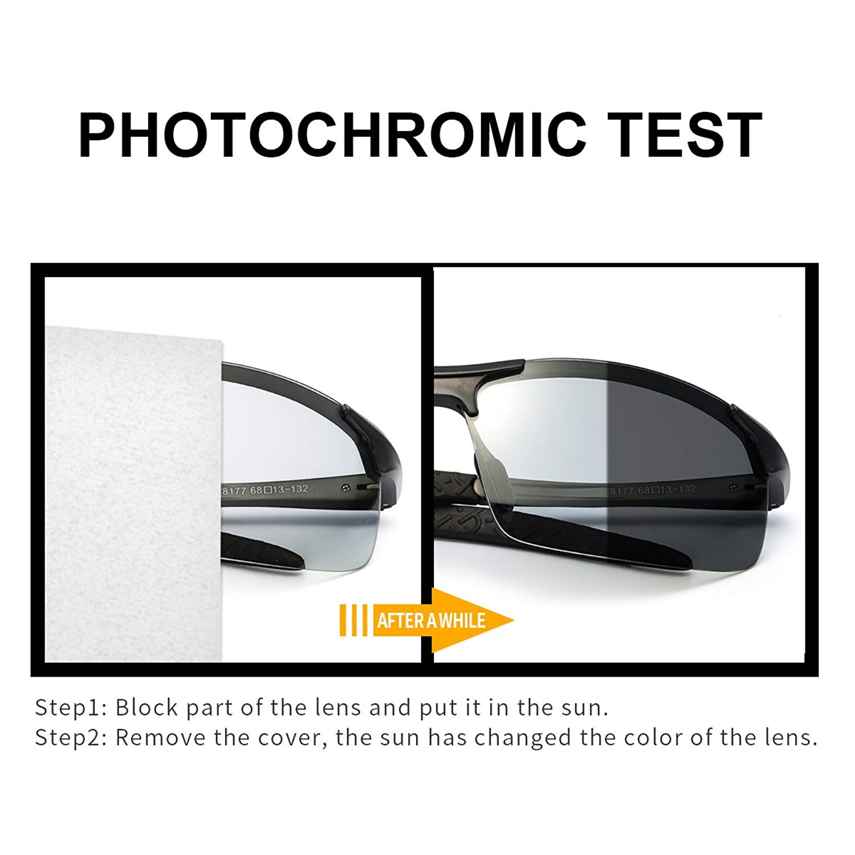Image 3 - 2019 Photochromic Polarized Semi Rimless Sunglasses Driver Rider Sports Goggle Chameleon Change color Glasses Men Women 8177-in Men's Sunglasses from Apparel Accessories on AliExpress