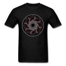 Eclipse Tops Tees Men Tshirt Mandala Swan Print T-shirt Fitness T Shirt Vintage Black Streetwear Cotton Clothing Drop Shipping