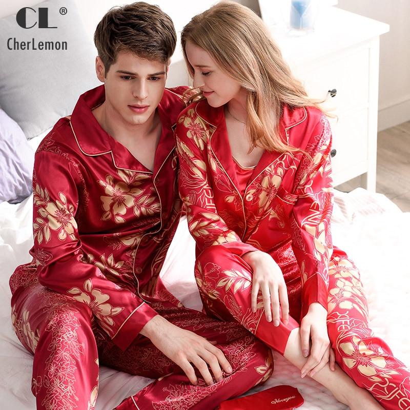 CherLemon Men Satin Silk Pajamas Women 3Pcs Camisole Top and Pants Pyjama Set Autumn Red Floral Print Bride and Groom Sleepwear