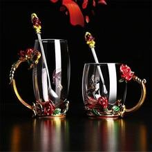 Красота и Новинка эмалированная чашка для кофе кружка цветок чай стеклянные чашки для горячих и холодных напитков чайная чашка ложка Набор идеальный свадебный подарок