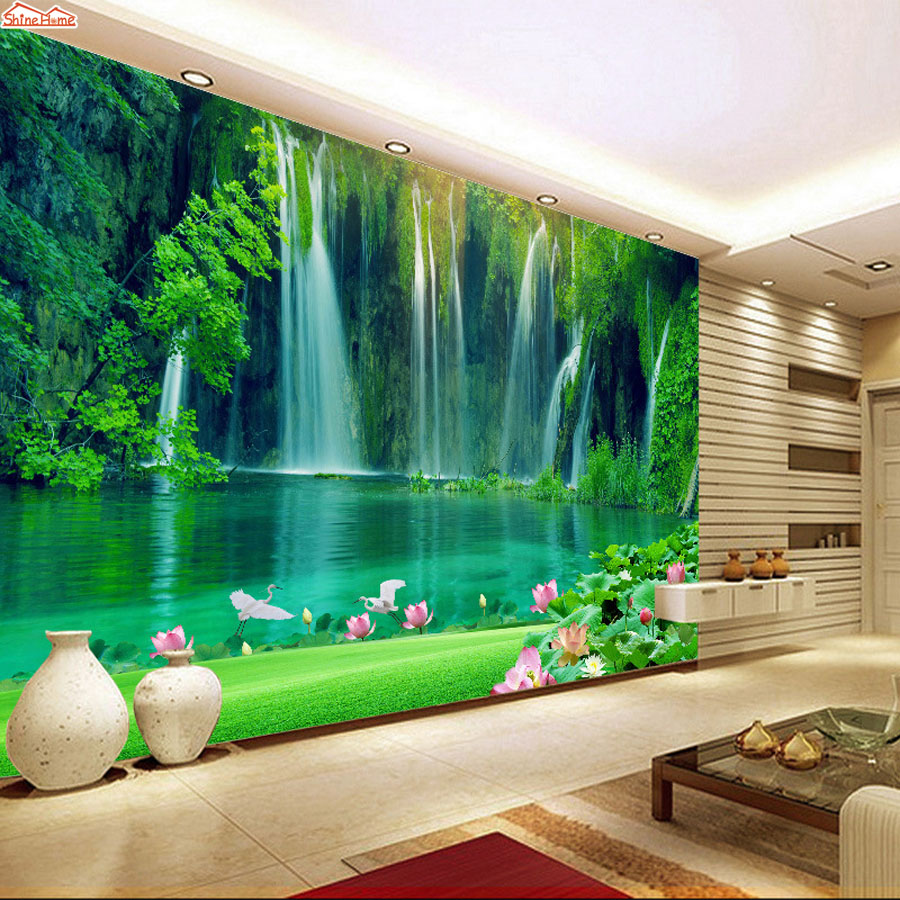 Buy shinehome modern waterfall natural for Salon papier peint
