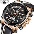 Мужские часы LIGE Лидирующий бренд Роскошные автоматические механические часы модные бизнес часы кожаные водонепроницаемые часы мужские ча...