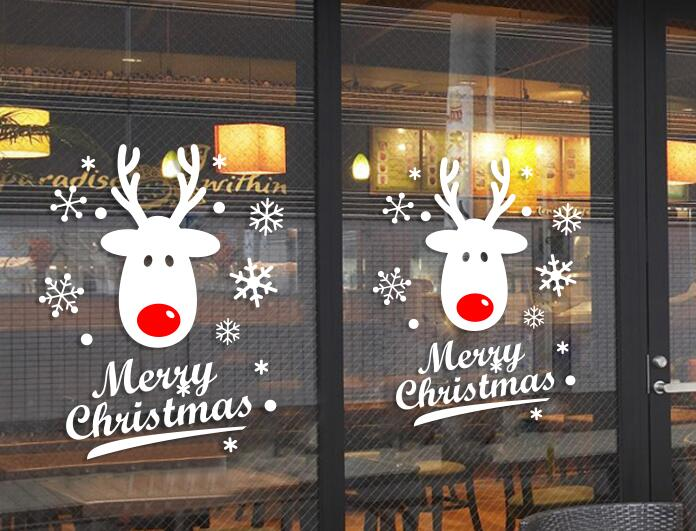 Cute Deer Merry Christmas Snowflake Atmosphere Decoration Store Shop Office Door Sticker Window Wall In Stickers From Home