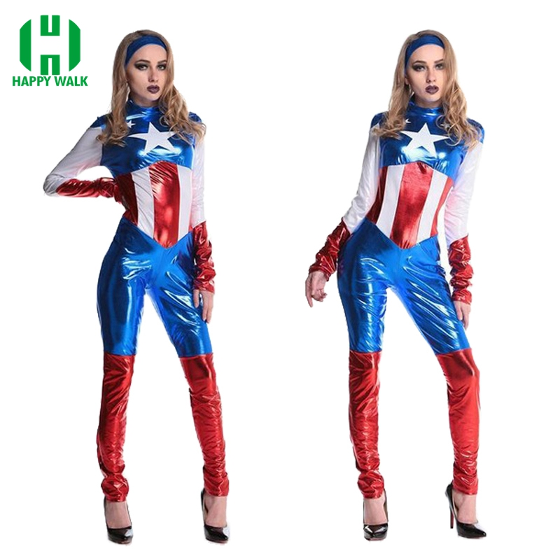 Women Sexy Captain America Costume Women Halloween Carnival Cosplay Costume Jumpsuit Movie Avengers Captain America Costume