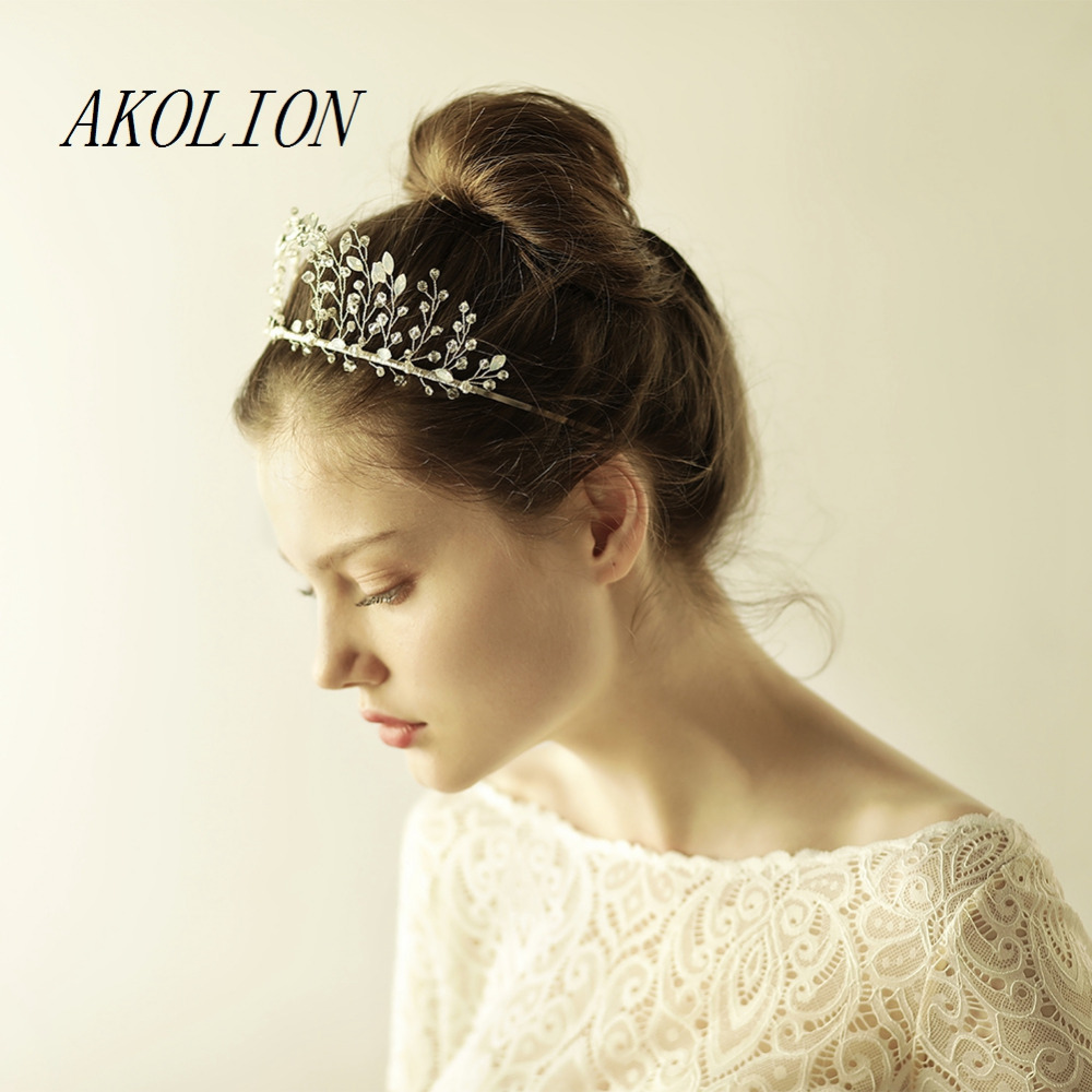 us $29.0 |akolion hair jewelry crystal crown bridal tairas beading crystal handmade new hot sale bridal hair accessories wedding crown-in hair jewelry