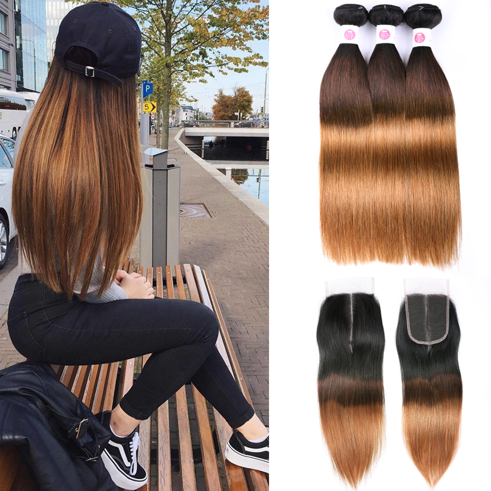 Peruvian hair Straight dark roots blonde hair bundles with closure 1b 4 30 lanqi 3 tone