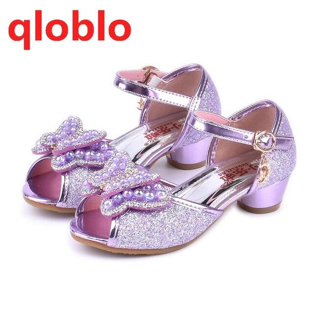 qloblo 2018 kids dancing princess shoes high heels sandal girls children  summer sandals Pink Blue Gold purple 44d6738f0eff