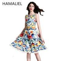 HAMALIEL Runway Designer Summer Dress 2017 Women Luxury Print Flower Sleeveless Elegant Slim Tank Female Vintage