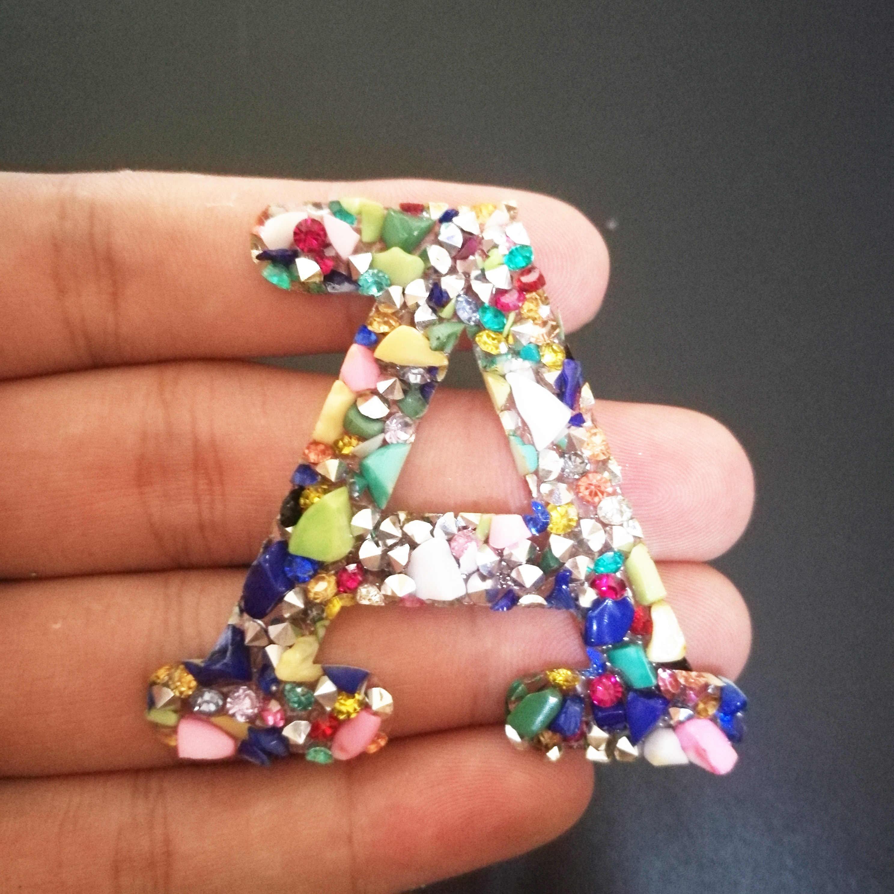 A-C 1 Pc Warna Batu Berlian Imitasi Huruf Besi Pada Patch untuk Pakaian Garis Pakaian Stiker Bordiran DIY Nama Logo Pekerjaan Tangan