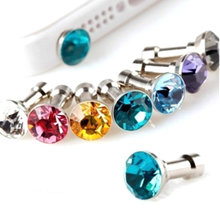 10PCS Cell Phone Accessories Crystal Bling Anti Dust Plug 3.5mm Stopper for Mobile Phone Cellphone and Any 3.5 Mm Earphone Jack(China)