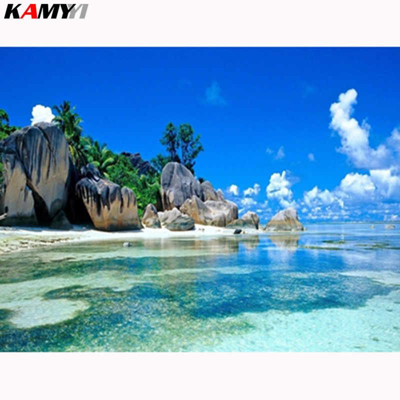 חוף ים, 5D, DIY, יהלומי ציור, מלא, נוף, תפר צלב, עגול ריינסטון, רקמה, רקמה, חדר קישוט, אמנות LK1
