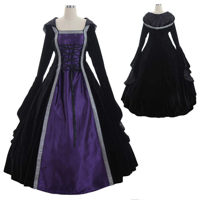 Renaissance Wedding Dresses.Medieval Dress Cosplay Velvet Satin Hooded Medieval Renaissance Wedding Dress Ball Gown Victorian Civil War Costume Cosplay