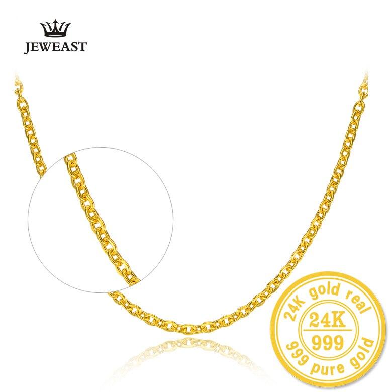 HMSS 24K Reinem Gold Halskette Kreuz Kette O Form Wort Allgleiches Weibliche Worte Schlüsselbein Feine Schmuck Solid Gold gehobenen Halsketten-in Halsketten aus Schmuck und Accessoires bei  Gruppe 1