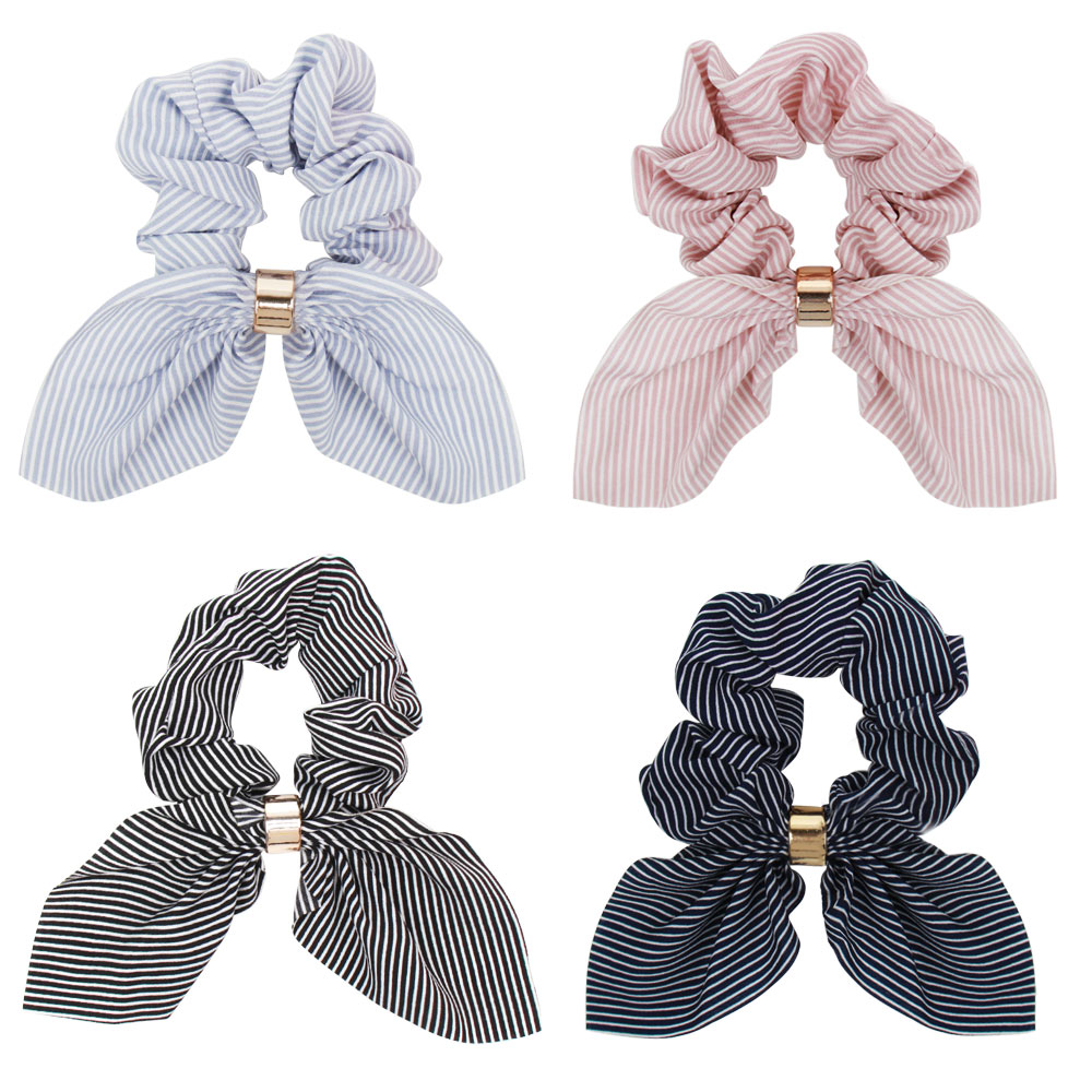 CN Hair Accessories Bow Scarf Hair Rubber Ribbon Elastic Hair Bands For Women Girls Printed Scrunchies Dual Use Rope  Headdress