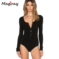 2016 New Single Breasted Slim Body Suit Sexy Combinaison Femme Buttons Womens Jumpsuit Black Leotard Bodysuit