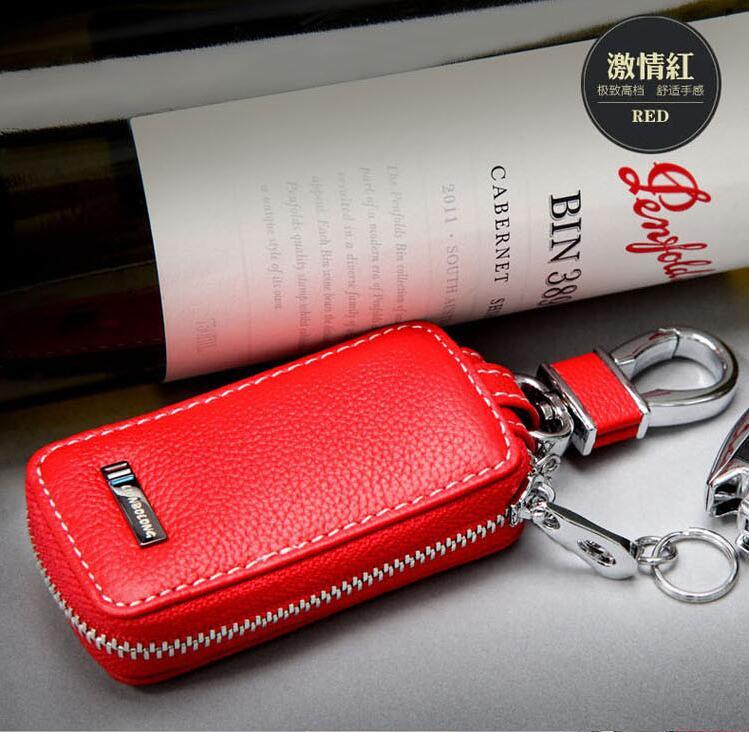 New Genuine Leather Car Key Ring RED Key Case For Acura
