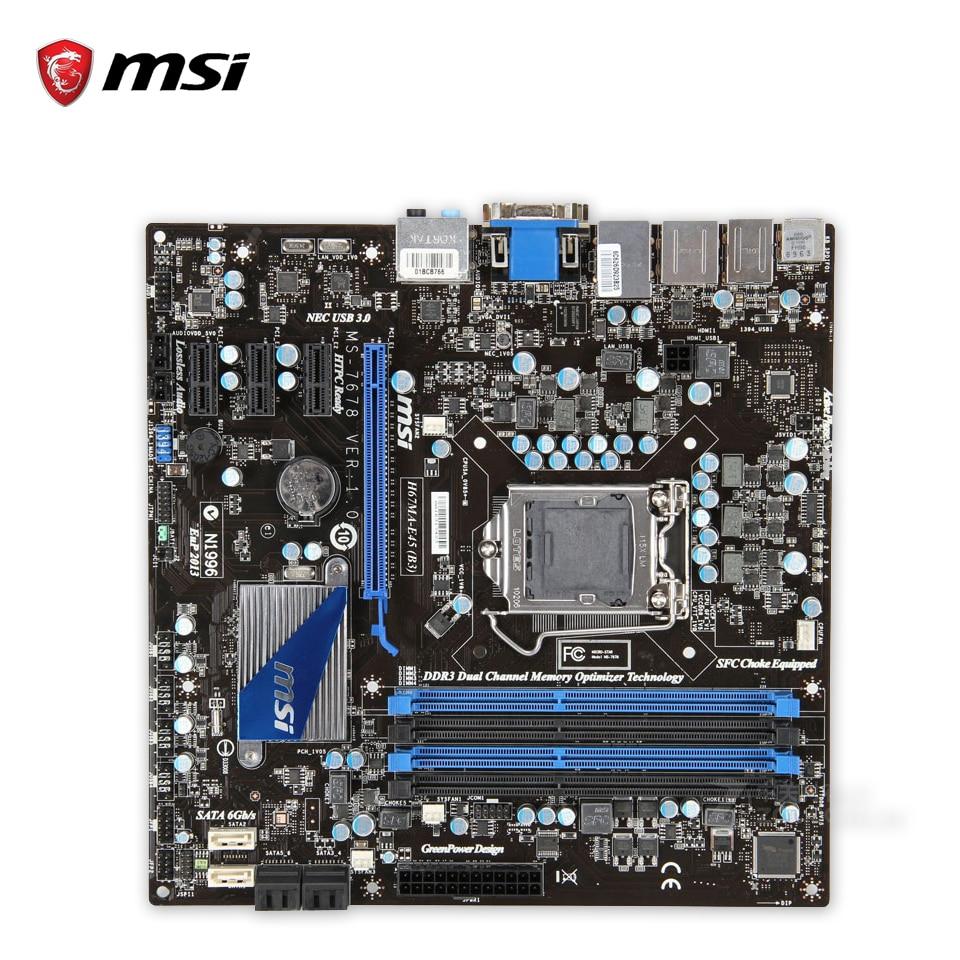 MSI H67MA-E45(B3) Original Used Desktop Motherboard H67 Socket LGA 1155 i3 i5 i7 DDR3 32G SATA3 Micro-ATX asus original motherboard h67h2 ad lga 1155 ddr3 h67 motherboard micro atx desktop motherboard