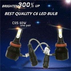 Mejor oferta DLAND C6S AUTO LED Bombilla de luz 60W 6400LM faro mejor C6 lámpara LED conversión H1 H3 H4 H7 9006 9005 H8 H11 H13