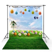 Easter egg Vinyl Photography Backdrop Spring Season Green Lawn Wildflower Decor Children Background Booth Photo Studio spring easter backdrop for newborn photography background for children photo d 9770