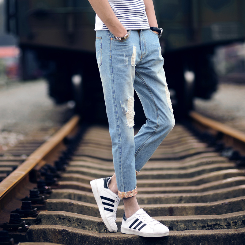 light color jeans male nine points pants male beggars 9 pants in summer mens pants and trousers
