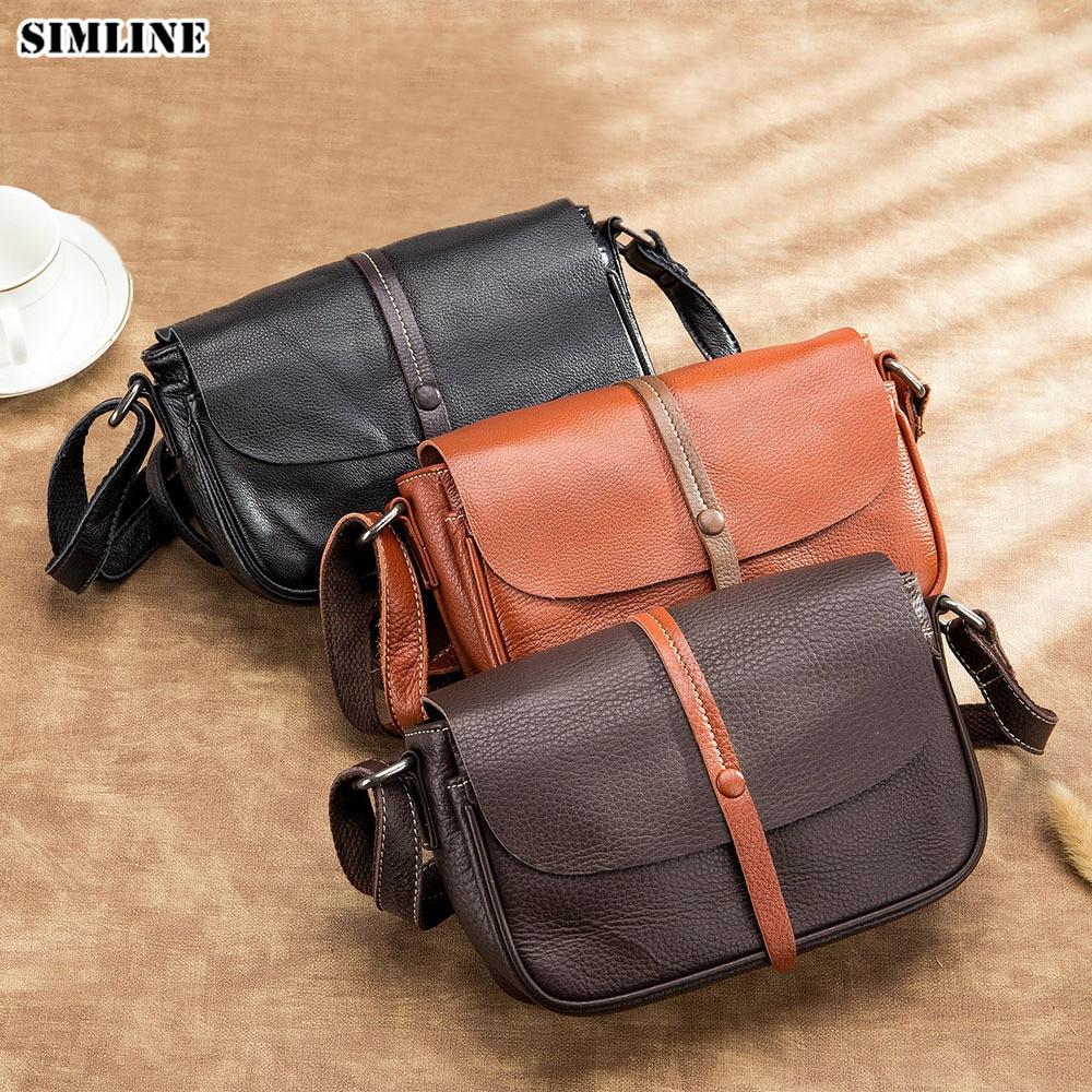 100 Genuine Leather Women s Shoulder Bags Vintage Brand Designer Female Small Messenger Crossbody Bags Handbags
