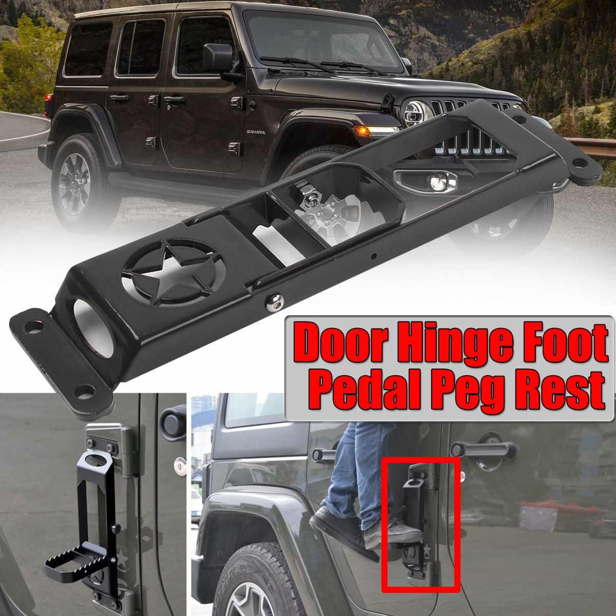 1/2pc Car Folding Door Hinge Foot Pedal Peg Rest For Jeep For Wrangler JK 2007-2017 2/4dr Door Hinge Step Metal Folding Foot Peg