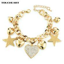 Женские браслеты toucheart в стиле панк золотого цвета с сердцем