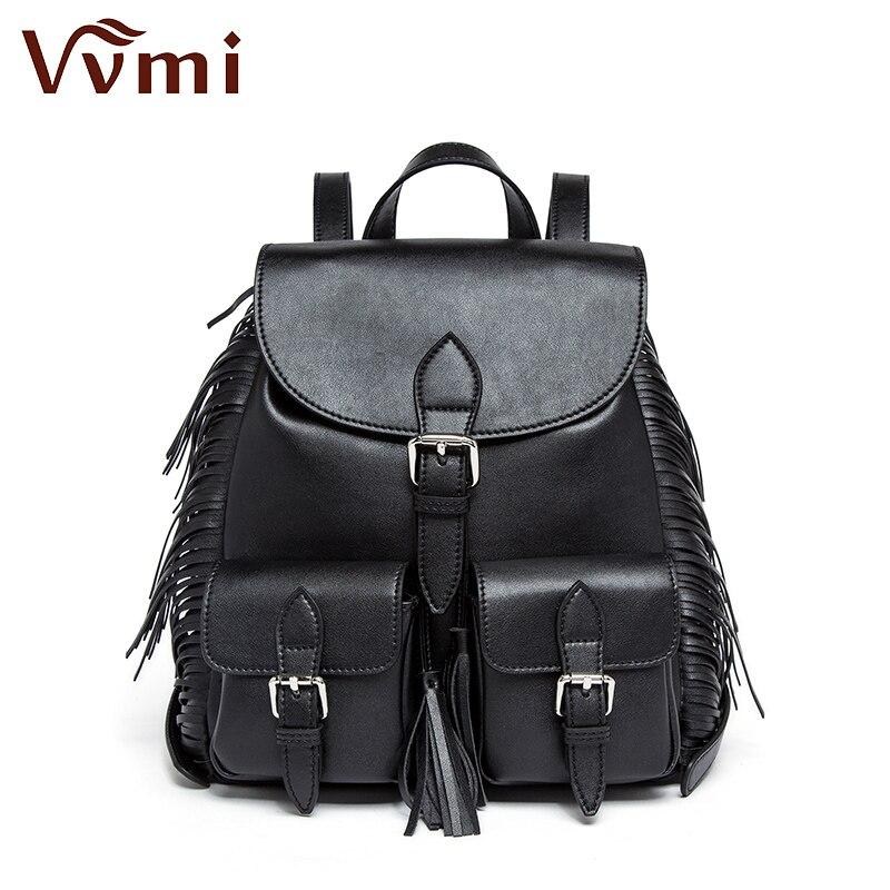 Vvmi bolsos women backpack fringe tassel big chic black cool girl bag with large capacity school bag new fashion цена 2017