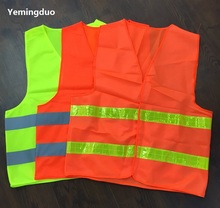 Night High Visibility Fluorescent Traffic Reflective Work Vest Warp Knitted Fabric Warning Reflective Safety Vests