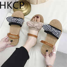 HKCP 2019 summer new bow sandals with comfortable flat bottom and toe versatile for women C414