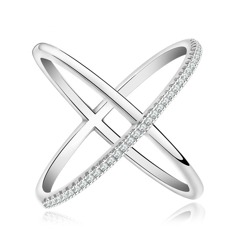 2 Colors X Shaped Letter 2018 Newest Design Infinity Ring With Micro Paved CZ Fashion Women Silver Color Rings Wholesale