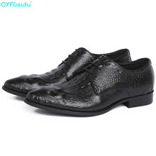 2019 High Quality Genuine Leather Business Casual Men Dress Shoes Office Luxury Crocodile Pattern Oxfords Formal Shoes 2016 men business genuine leather daily leisure oxfords casual crocodile wedding casual flat leather oxford men shoes