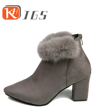 KHJGS Women Ankle Boots 2017 Winter Fashion Women Snow Boots Female Plush Warm Cotton Shoes Non-slip comfortable woman boots