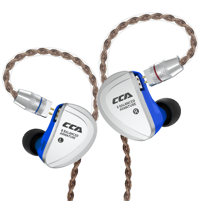 CCA C16 8BA Drive Units In Ear Earphone 8 Balanced Armature HIFI Monitoring Earphone Headset With Detachable Detach 2PIN Cable