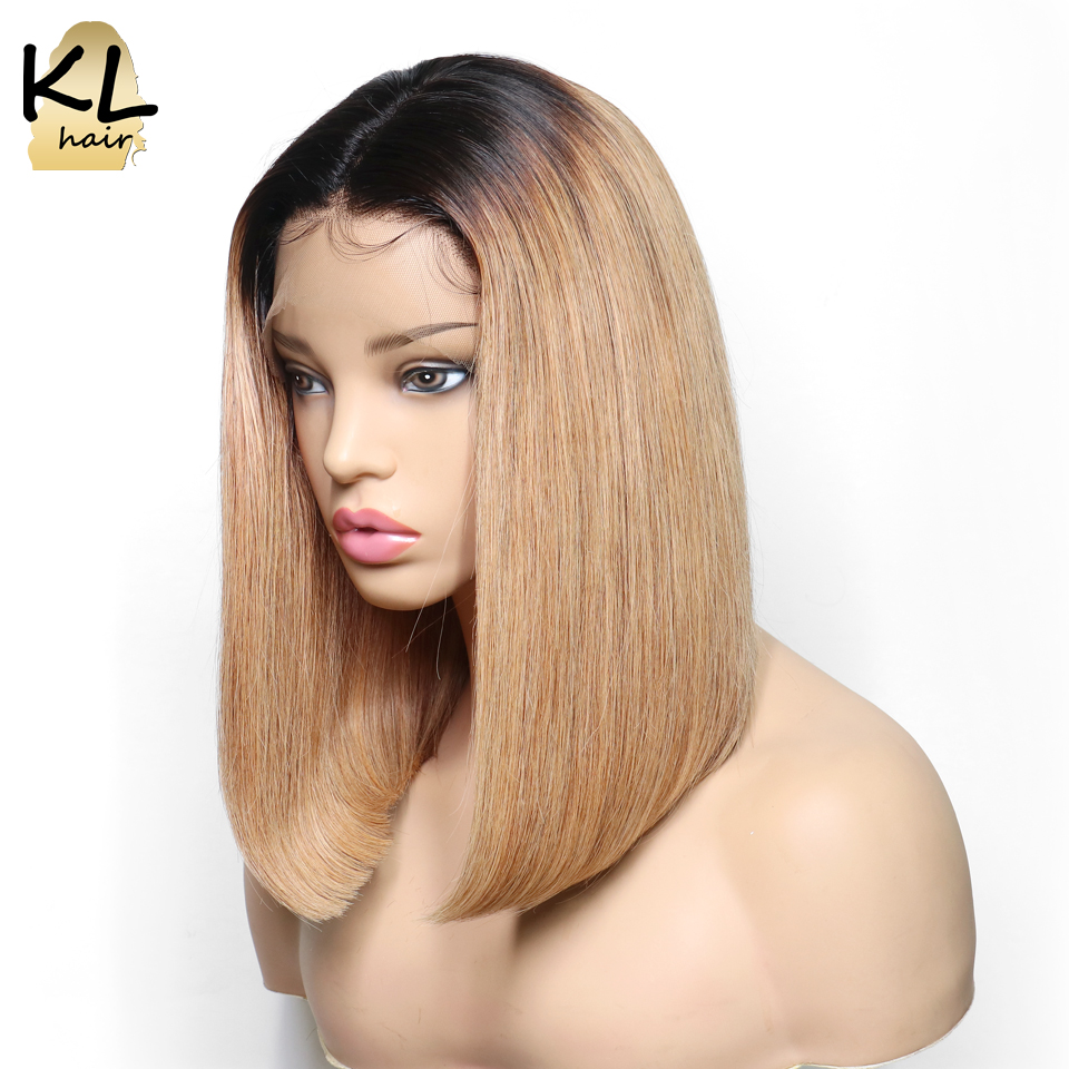 KL Hair Pre Plucked Ombre Color Bob Wigs Lace Front Human Hair Wigs With Baby Hair