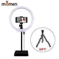 MAMEN 8 Inches Mini LED Ring Light Portable Circular Lamp 144 LED 3200K/5500K CRI90 USB Video Light for YouTube Photo Shooting