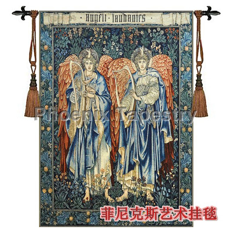 Bawełna WilliamMorris anioł grać na cytrze ścianie wisi gobelin 139*103 cm deco Tapiz Tapisserie Arazzo medievale H114 w Gobeliny od Dom i ogród na  Grupa 1