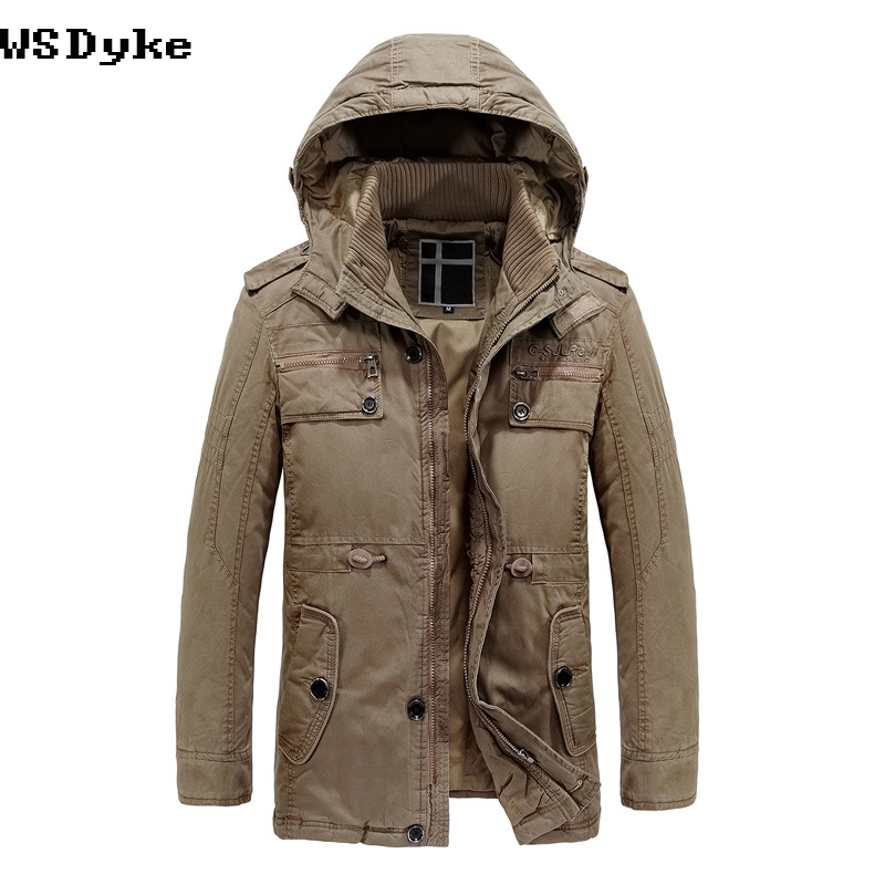 2017 New Arrival Long Detachable Hood Mens Winter Jackets And Coats Thicken Warm Kurtki Men